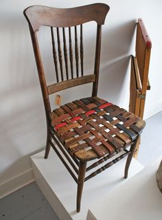 Redo the center of my wooden folding chairs for the trailers with leather strapping like this.