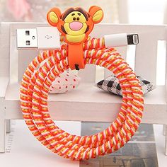 Tospania DIY Cartoon Style Spiral Wire Protectors for Apple Lightning Cables/Samsung and other Tablet Charging Cables/ Earphone Cords and More (Tigger) Tospania
