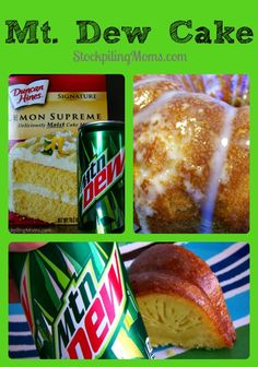 Amazing taste in this delicious moist cake! Mt Dew Cake is so moist and delicious! Seriously there is nothing better than this cake that you actually make with Mt. Cake Mix And Soda, Soda Cake, Cakes Made With Soda, Just Desserts, Delicious Desserts, Yummy Food, Lemon Desserts, Fun Food, Mt Dew Cake