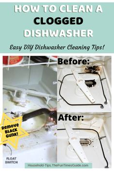 HOW TO CLEAN A DISHWASHER - Black stuff in dishwasher? I noticed slimy food & grime in our rear dishwasher basket. Here's how to clean a clogged dishwasher and remove the black gunk so your dishwasher will run better! Clogged Dishwasher, Dishwasher Cleaning Tips, Dishwasher Basket, Black Dishwasher, Deep Cleaning Tips, Clean Dishwasher, House Cleaning Tips, Spring Cleaning, Cleaning Hacks