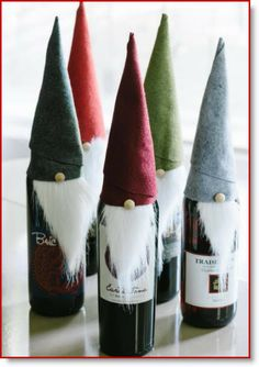 HEY! That's my project! Small world. Hadn't seen it on Pinterest yet...-Celery Jones. Christmas Elf Felt Wine Bottle Covers instructions