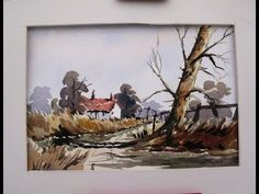 watercolor painting loose style of a country lane