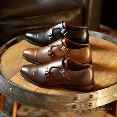Mora 2.0 in Brown Burnished, Bourbon Calf and Black Custom Calf - Double Monk Strap Slip-On Loafer Men's Dress Shoes #allenedmonds