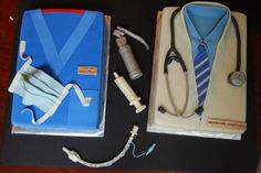 2 9x13 cakes covered in fondant made for anesthesia doctors farewell party.  all accents and instruments  are fondant/gumpaste. everything i...