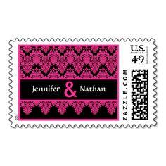 Hot Pink and Black Lace Damask Monogram Wedding Stamps #wedding #stamps #love #marriage #romance #bride #groom #jaclinart #love #postage #hot #pink #black #lace #damask #monogram