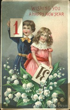 Lily of the Valley on a Happy New Year postcard.