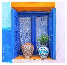 Beautiful blue on blue window in Greece . love the curtains and the clay pots Window Boxes, Window Sill, Deco Boheme, Belle Villa, Through The Window, Greek Islands, Doorway, Stairways, Windows And Doors