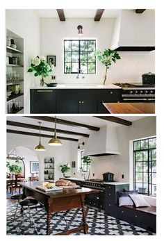 The black window frames add to the contrasts in this beautiful kitchen. Helgerson used Granada Tile's Badajoz cement tiles in black and white along with a La Canche range, and a pair of Boston Hanging Pendants in Hand-Rubbed Brass from Circa Lighting. Kitchen Hoods, Kitchen Tiles, Kitchen Flooring, Diy Kitchen, Kitchen Decor, Black Window Frames, Black Windows, White Kitchen Floor, Kitchen Black