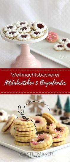 Die Weihnachtsbäckerei hat eröffnet und ich habe wieder etwas neues ausprobiert. Zarte auf der Zunge zergehende Mandelplätzchen als Hildabrötchen mit Kirsch-Marzipan-Füllung und Burgenländer mit Himbeerfüllung - die Rezepte findet Ihr auf meinem Blog. #weihnachtsbäckerei #plätzchen #rezepte #burgenländer