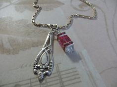 Sterling Spoon Charm Necklace with Swarovski Crystal by tuscanroad