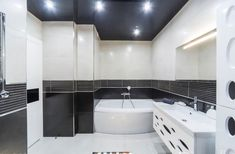 false ceilings can be called the best option for the bathroom. The main advantage of such constructions is the possibility of masking the defects of the ceiling, pipes of various utilities and the ventilation system. False Ceiling Design, Ventilation System, Corner Bathtub, Bathroom, Building, Design Ideas, Washroom, Corner Tub, Bath Room