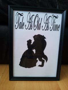 Framed Beauty and the Beast Disney Silhouette by GlimmerandShimmer, £6.99