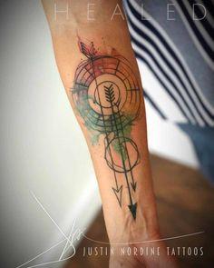 geometry tattoo arrows on forearm
