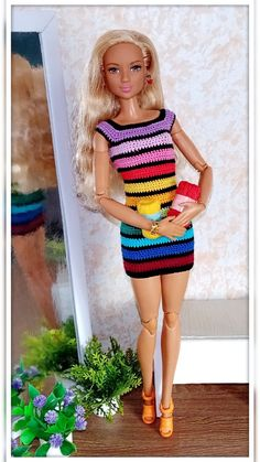 Sewing Barbie Clothes, Knitting Dolls Clothes, Crochet Doll Clothes, Sewing Dolls, Knitted Dolls, Stitch Crochet, Crochet Baby, Barbie Knitting Patterns, Barbie Dress