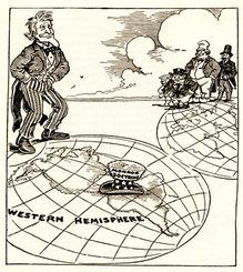 Monroe Doctrine - A document stating that America would stay away from any European power that is trying to take over an area in the Western Hemisphere. This is a political Cartoon that represents the reasons of the Monroe Doctrine. Americas Backyard, Monroe Doctrine, South America Map, Latin America, Syrian Civil War, Historia Universal, South American Countries, European Countries, Visual Metaphor