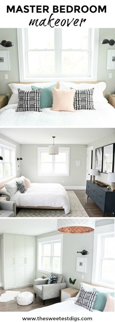 A budget-friendly Master Bedroom Makeover. Get this neutral, eclectic, modern bedroom design with the source list and DIY project ideas in the post. Great bedroom decor ideas and tips!