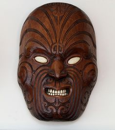 A mask depicting Maori facial tattoos, I bought at the Museum of Art and History in Rotorua, NZ Statues, Cursed Objects, Polynesian People, Maori Patterns, Facial Tattoos, Mask Images, Maori Art, Art Museum, Primitive