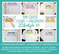 Welcome to the Weekend Wrap Up Party! Wrap up your projects and enter to win the 2013 Clean and Organized Lifestyle Kit from Clean Mama Printables! Clean Mama, Home Management, Homekeeping, Organize Your Life, Cleaning Kit, Daily Cleaning, Getting Organized, Homemaking, Storage Organization
