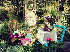 Staging - Alice in Wonderland photo shoot in my backyard. Staging by Vintage Vexation and MV Furniture redesign.