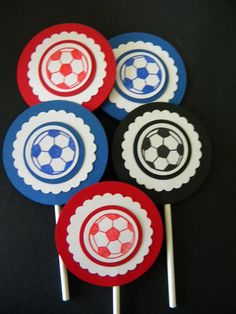 Soccer cupcake toppers by Custom Paperations