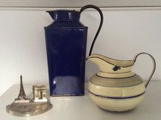 French Antique Graniteware Enamelware Striped by FrenchAntiques4u