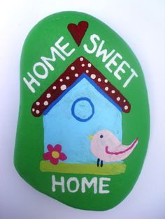 Home Sweet Home Hand Painted Pebble. by Quacraft on Etsy, £8.00