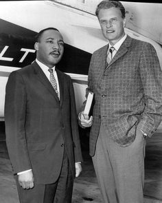 "This day in history: On July 18, 1957, Martin Luther King, Jr., joined Billy Graham on the platform at his Crusade in Madison Square Garden. King led the congregation in a prayer, calling ""for a warless world and for a brotherhood that transcends race or color."" In a letter to Graham after the Crusade, King praised Billy's commitment to holding non-segregated revivals, commenting, ""You have courageously brought the Christian Gospel to bear on the question of race."""