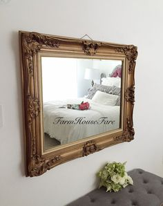 Bathroom Mirror Gold hollywood regency gold mirror vintage large wood round ornate