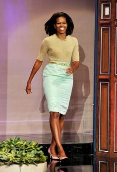 Michelle Obama  In February our First Lady made a pretty pastel appearance on The Tonight Show With Jay Leno wearing a high-waist jacquard pencil skirt by J. Crew.