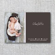 Modern Baby Announcement Card Photo Modern Pink Girl Beautiful- Printable, Digital