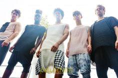 "Nottingham based fashion brand GUARDEN, ""Love Sushi"" S/S 13 Collection. Left to right;  Salmon Sheer Vest w/ Seaweed Pants, Mesh Black & White Cut Tank w/ Seaweed Drop Crotch Pants, Sheer White Ridged Vest w/ Onigiri Checkered Harem Shorts, Ink Blended Unisex Drop Crotch Leggings w/ Blush/Nude Sheer Vest, Seaweed Cardigan, Black Ridged Vest, Seaweed Drop Crotch Pants. Models (left - right); Luke Hicks, Ra'mario,  Ben, Bradley, Christopher. MUA: Sarah Vaites, @Michele Photographer:@Yves Bonis…"
