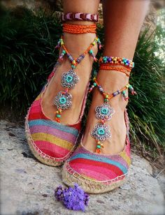 gypsy summer barefoot sandals sole less sandals beach wedding rainbow dance jewelry slave anklet