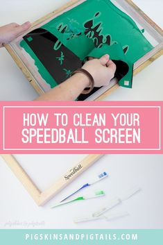 Watch how to easily clean your Speedball screen printing frame using water and a soft brush. Diy Screen Printing Kit, Screen Printing Shirts, How To Dye Fabric, Dyeing Fabric, Silhouette Cameo Projects, Linocut Prints, Vinyl Projects, Fabric Painting, Crafty