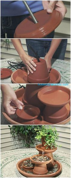 DIY TerraCotta Clay Pot Fountain Projects: Tabletop water fountain, garden flower pot fountain features => www.fabartdiy.com... #Crafts, #HomeDecor
