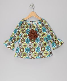 Take a look at this Brown & Green Floral Peasant Top - Toddler & Girls on zulily today!