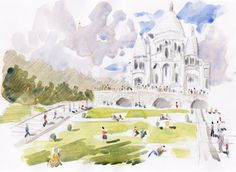 Paris, Sacré Coeur Original watercolor work on acid free quality english cartridge paper. 21 x 29 cm. Signed. 8 x 11 inches.  You get Certificate of Authenticity for every painting you buy, signed by the artist.  You are buying Original Handmade, art directly from the artist and personally signed.  Actual colors may vary from the color on your screen due to monitor resolution.  All of my paintings, prints and drawings are professionally packed with great care.