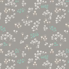 "Art Gallery Fabrics 44"", ""Tenderness Grey"" Flower Print on Grey Background (8.18.14)"