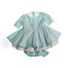 Aqua Dress with embroidered