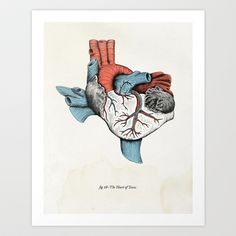 Best Texas art, I've seen.  The Heart of Texas (Red, White and Blue) Art Print by Tim Delger - $20.00