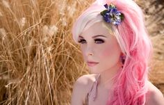 #hair #pink #flower Sometimes I want to see this on me... But I'm a chicken.. Lol