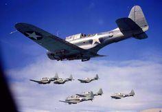 [Photo] Seven SBD Dauntless dive-bombers in flight, Aircraft Photos, Ww2 Aircraft, Fighter Aircraft, Aircraft Carrier, Military Aircraft, Fighter Jets, Navy Aircraft, Pilot, Navy Marine