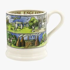 Recognise any familiar sights in this Beautiful England 1/2 Pint Mug celebrating our green and pleasant land? Guess which one is our favourite?! Emma Bridgewater Pottery, Village Fete, Half Pint, England, Presents For Her, Stoke On Trent, Stonehenge, Mug Decorating, Earthenware