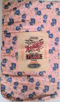 Original unopened flour sack. Circa 1950. The label features stylised corn and states that the fabric bag was made by Erwin Manufacturing Company.