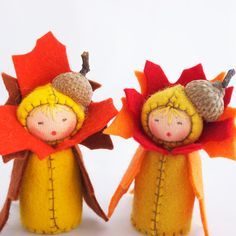 Thanksgiving Table Decor -  Felt Dolls Autumn Acorn - Fall Colors. $40.00, via Etsy.
