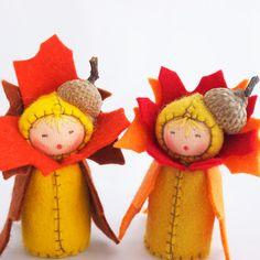 Autumn Leaf Centerpiece Fall Table   Felt Dolls by GigiInStitches