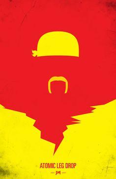 Umm BOUGHT. --> WWF Legends Minimalist Poster - 'Hulk Hogan - Atomic Leg Drop'. $20.00, via Etsy.