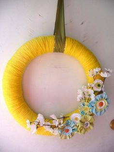 Super bright and sunny flower spring wreath!
