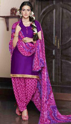 USD 30.25 Violet Cotton Satin Punjabi Suit 47610