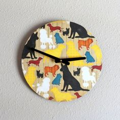Dog  Wall Clock  Decor and Housewares Wood Home and by Shannybeebo