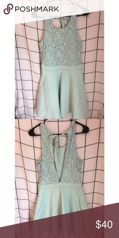 KIMCHI BLUE // Lace Dress Seafoam green a line dress with open back. Has a soft lace top and skirt bottom. Back closing with a tied ribbon. In good used condition. Kimchi Blue Dresses Mini